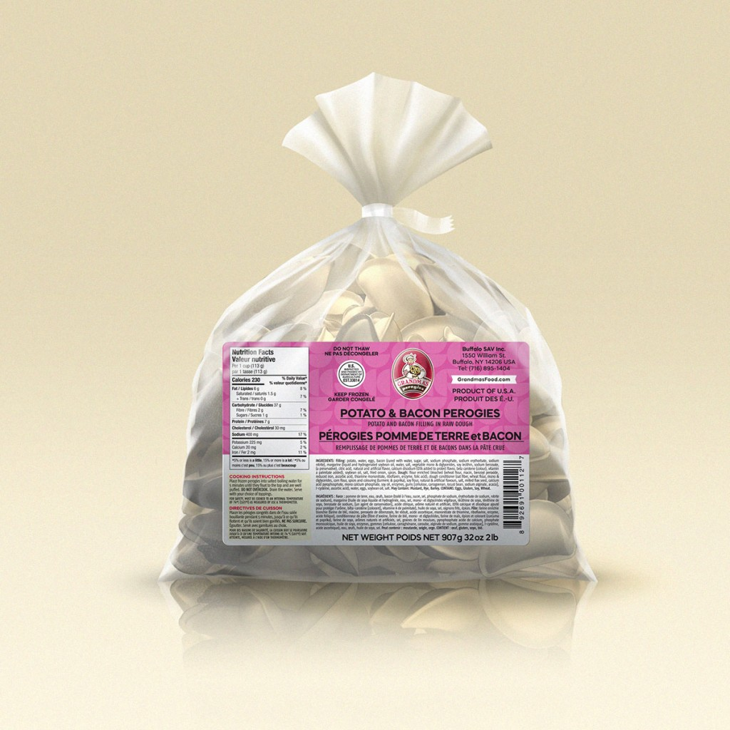 Grandmas Perogies Labels 2lb Potato Bacon Perogies