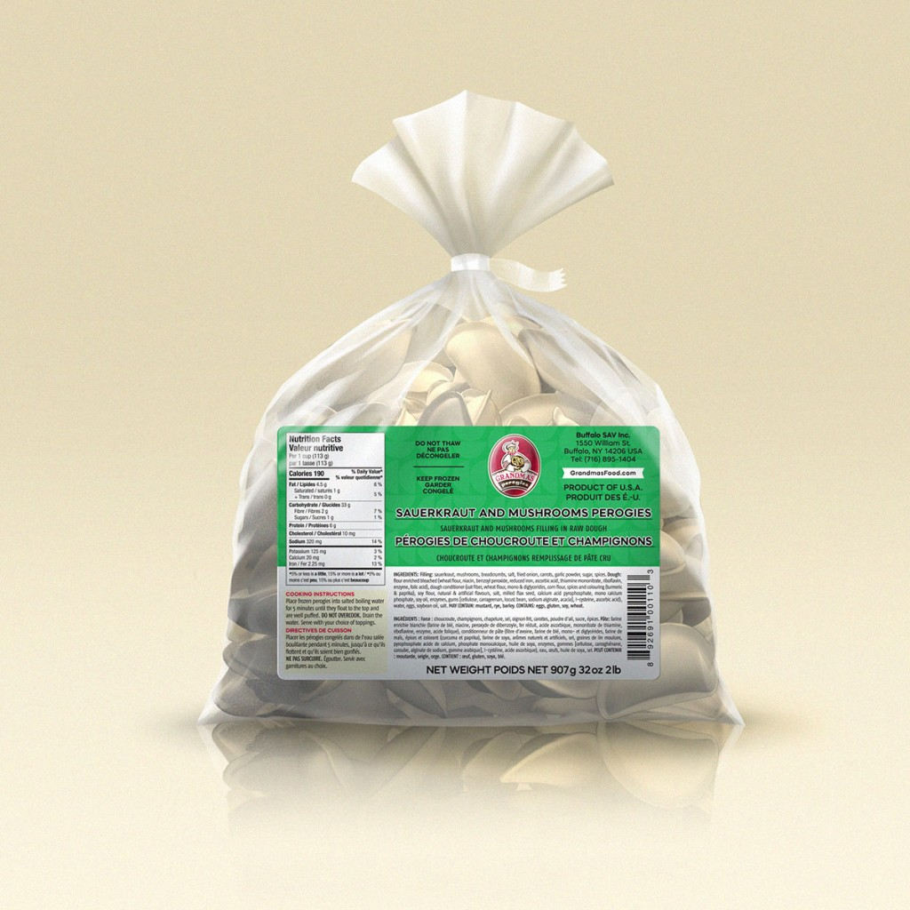 Grandmas Perogies Labels 2lb Sauerkraut Mushroom Perogies